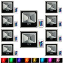 Kit Com 10 Pecas - Holofote Refletor Super Led 30w Rgb - A Prova Dagua   Controle Remoto - Powerxl
