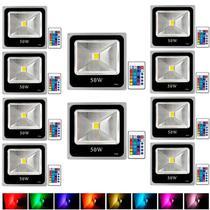 Kit Com 10 Pecas - Holofote Refletor Super Led 50w Rgb - A Prova D'agua   Controle Remoto - Powerxl
