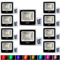 Kit Com 10 Pecas - Holofote Refletor Super Led 50w Rgb - A Prova Dagua   Controle Remoto - Powerxl