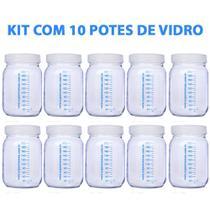 Kit com 10 Potes de Vidro para Armazenar Leite Materno 200ml Com Graduação - Super Mamãe