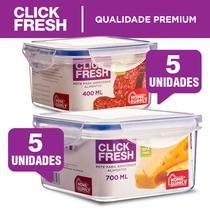 Kit com 10 potes herméticos alta qualidade Click Fresh (5+5) -