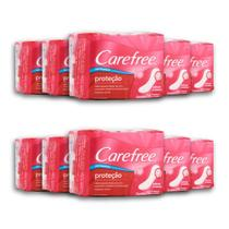 Kit com 10 Protetores Diário CAREFREE Proteção sem Perfume 15 unidades -
