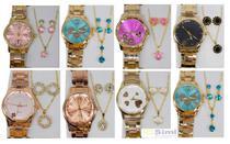 Kit Com 10 Relógios Feminino Atacado + Joias Foliado + Caixa - Imports