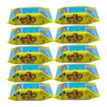 Kit Com 10 Toalhas Umedecidas Premium 100 Folhas Turma Do Soninho -