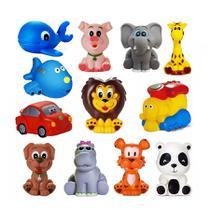 Kit Com 12 Brinquedos De Vinil Para Bebê Maralex - Leão, Elefante, Girafa, Tigre, Hipopótamo, Porco, Baleia, Panda, Cach -