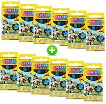 Kit com 12 caixinhas giz de cera pequeno com 6 cores 24g cada - acrilex -