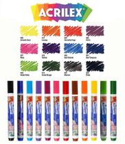Kit Com 12 Canetas Para Tecido Acrilpen 04412 - Acrilex -