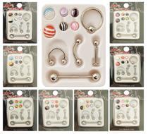 Kit Com 12 Cartelas com 5 Piercing de Aço Para Orelha Septo Língua e 6 Bolinhas Extras - Joli Monde