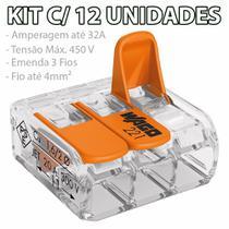 Kit Com 12 Conector Wago Emenda 3 Fios Mod 221-413 -