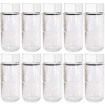 Kit Com 12 Frascos de Vidro Para Temperos Com Tampa Plastica -