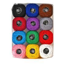 Kit Com 12 Linhas Para Crochê Cores Variadas Novelinhos - NYBC