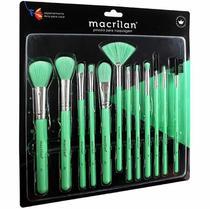 Kit com 12 Pincéis Profissionais para Maquiagem Macrilan -