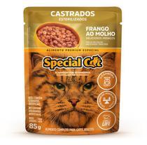 Kit com 12 Ração Úmida Special Cat Sachê Frango Gatos Castrados 85Gr - Special Dog