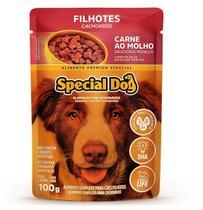 Kit com 12  Ração Úmida Special Dog Sachê Carne Cães Filhotes 100Gr -