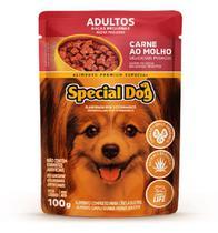 Kit com 12 Ração Úmida Special Dog Sachê Carne Cães Racas Pqna Adultos 100gr -