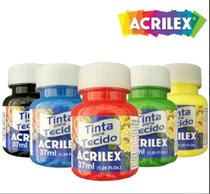 Kit com 12 Tintas para Tecido 37ml Acrilex -