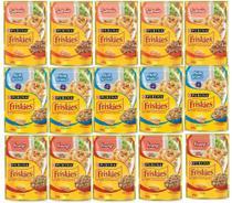 Kit com 15 - Ração Úmida Gatos Adultos Friskies - Peixe Branco, Salmão e Frango ao Molho - 85g Cada - Nestlé Purina