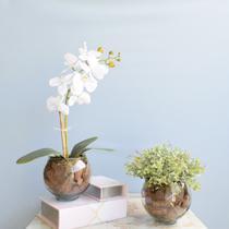 Kit com 2 Arranjos Flor Artificial Orquídea Branca e Peperômia no Vaso de Vidro - FORMOSINHA