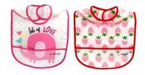 Kit Com 2 Babadores Impermeáveis - Love - Elefante E Morango -