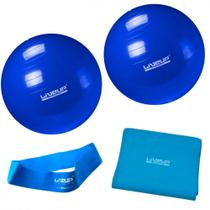 Kit com 2 Bolas 65 Cm + Faixa Elastica Forte + Mini Band Tensao Forte Azul  Liveup -