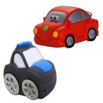 Kit Com 2 Brinquedos De Vinil Para Bebê Maralex -  Carrinho e Carro de Policia -