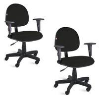 Kit com 2 Cadeiras de Escritório Executiva Giratória com braços Tecido Preto  Qualiflex -
