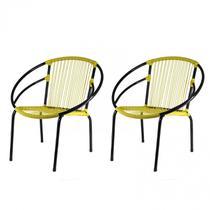 Kit com 2 Cadeiras para Jardim Circulares Eclipse Famais Amarelo/Preto -