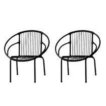Kit com 2 Cadeiras para Jardim Circulares Eclipse Famais Preto -