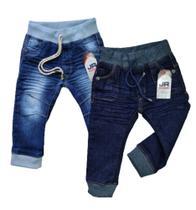 Kit com 2 calças jeans bebê menino Tam P,M e G - Jr kids