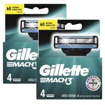 Kit com 2 Cargas Gillette Mach3 com 4 unidades -