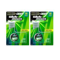 Kit com 2 Cargas Gillette Mach3 Sensitive c/ 16 unidades -