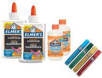 Kit Com 2 Colas Translucidas 5 Glitters E 2 Ativadores Elmers Toyng -