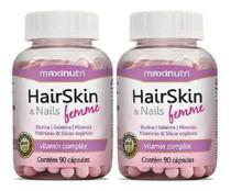 Kit com 2 Hair Skin & Nails Femme Maxinutri Cápsula Da Beleza 180 Cáps -