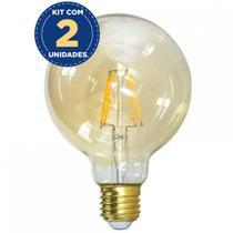 Kit com 2 Lâmpada LED Globo Grande Retro Filamento G125 E27 4W 2200K Blumenau -