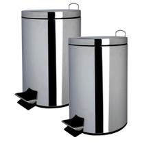 Kit com 2 Lixeiras Inox 5 Litros - Just Home Collection