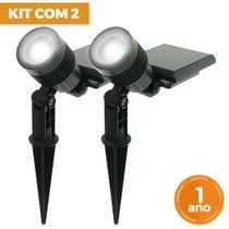 Kit com 2 - Luminária Solar Espeto de Jardim LED SMD Branco Frio 6000K 10 Lúmens - Ecoforce