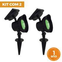 Kit com 2 - Luminária Solar Refletor Spot com Espeto de Jardim Super LED Verde 15 Lúmens - Ecoforce