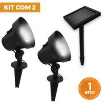 Kit com 2 - Luminária Solar Spot Refletor com Espeto de Jardim Super LED Branco Frio 6500K - Ecoforce