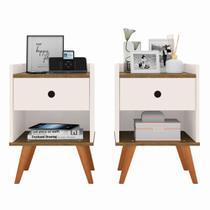 Kit com 2 Mesa de cabeceira Retrô Decore 1 Gaveta - Off White com Freijo - RPM Móveis -