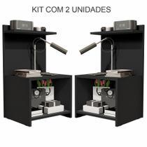 Kit com 2 Mesas de Cabeceira Fantasy  Preto - Compreaqui