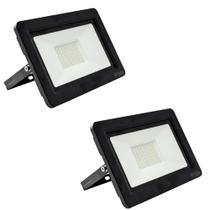 Kit com 2 peças - Holofote Refletor Super LED 100w Branco Frio Bivolt a Prova Dágua - Powerxl