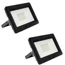Kit com 2 pecas holofote refletor super led duplo 100w bivolt bco frio - Powerxl