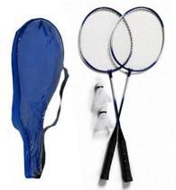 Kit Com 2 Raquetes De  Badminton 2 Petecas e Bolsa para transporte - Novo século - Diversão