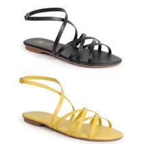 Kit com 2 rasteiras femininas luma ventura dany preta + amarela black/yellow -
