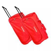 Kit com 2 Sacolas tipo Bolsa de Viagem com Carrinho Grande - Gladiador T26 - Vermelho - Gladiador Malas