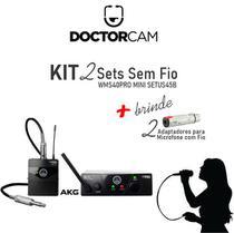 Kit com 2 Sets WMS40PRO MINI UHF SETUS45B + Brinde - Akg