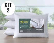Kit Com 2 Travesseiros Suporte Médio 300 Fios Toque de Seda - Hedrons
