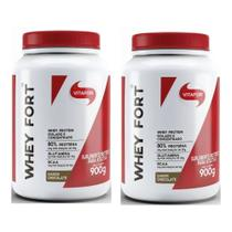 Kit com 2 Whey Fort 900g Chocolate Vitafor -
