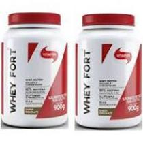 Kit com 2 Whey Fort 900g Chocolate Vitafor -
