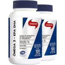 Kit com 2 x ômega 3 epa dha 120 cápsulas - vitafor -